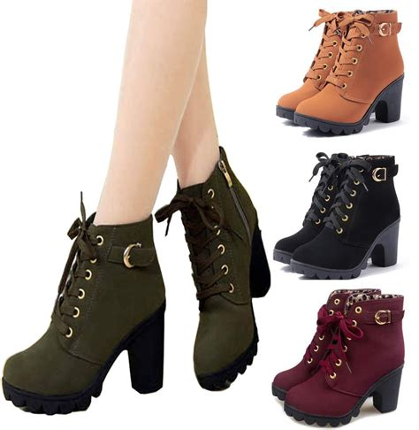 trendy womens mid high heel block platform lace up