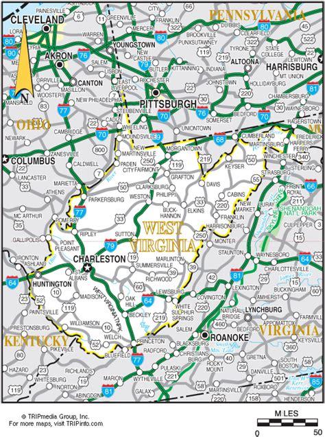 printable road map of virginia west virginia map