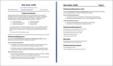 Exles Of 2 Page Resumes by Resume Resume Guide Careeronestop