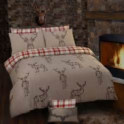 Luxury Duvet Cover Sets Stag Rein Deer Tartan Check Reversible Themed Design