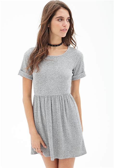 ribbed knit dress forever 21 ribbed knit marled dress in gray grey