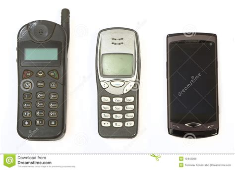 Cell Phone 3 by Cell Phones From Three Generations Royalty Free Stock