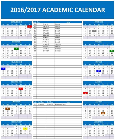 2016 2017 School Calendar Templates Microsoft And Open Office Templates School Schedule Template
