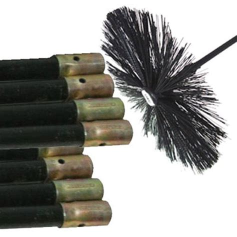 Chimney Flue Brush Set - new chimney flue cleaning rods x 8 brush sweep sweeping