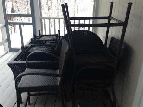 the subtle beauty of snow covered patio furniture new