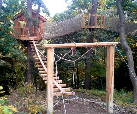Backyard Treehouse Plans by Newtown Square Pa Rope Bridge Treehouse
