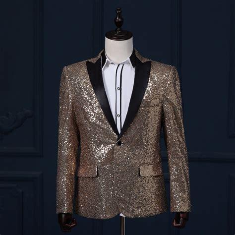 Bordir Jacket jacket mens gold sequin tuxedo stage singer ceremony host chorus suits groom wedding