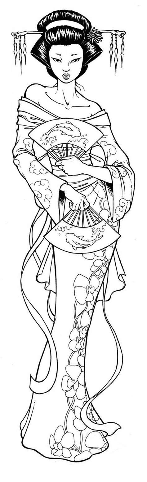 geisha tattoo outline geisha tattoo images designs