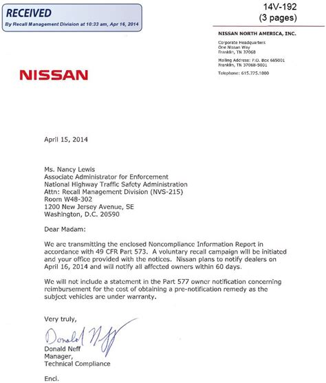 Acceptance Letter Of Vehicle 2014 Nissan Leaf Recall Missing Spot Welds Entire