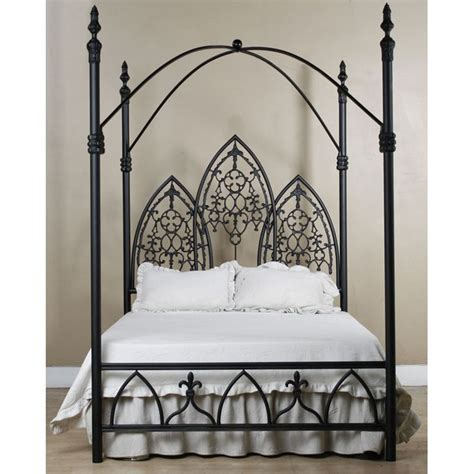 tisch kanopy gothic dark metal canopy bed frame with fretwork corsican