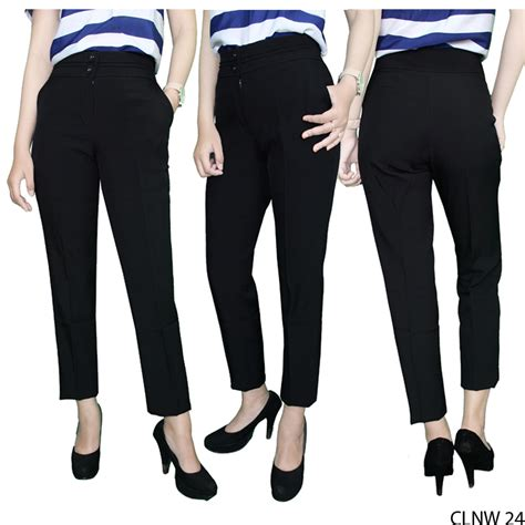 Celana Panjang Katun Wanita celana panjang wanita katun hitam clnw 24 gudang fashion