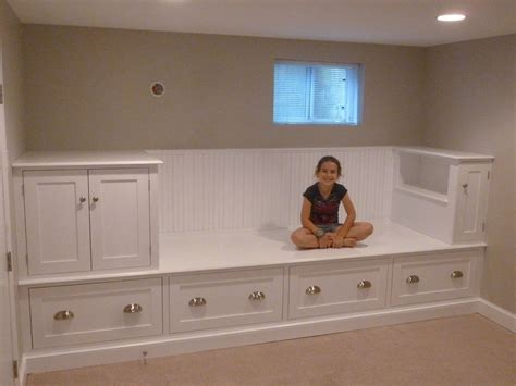 built in storage bench with drawers custom made large storage bench bed by meisterbuilders