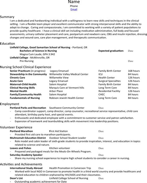 Linfield College Nursing Resume And Cover Letter Packet nursing resume cover letter packet for free