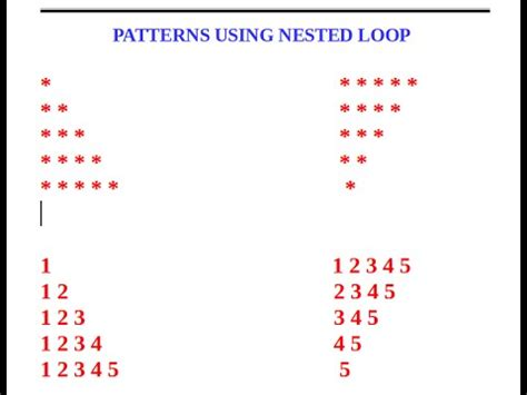 pattern for numbers in java video 5 bluej printing patterns using nested loops
