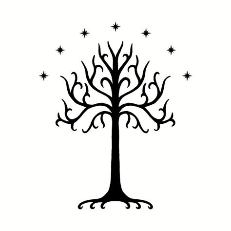 white tree of gondor black white tree of gondor