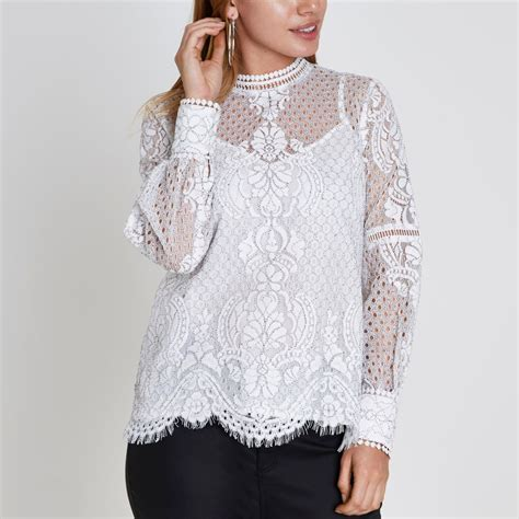 Sleeved Lace Top white lace sleeve top tops sale