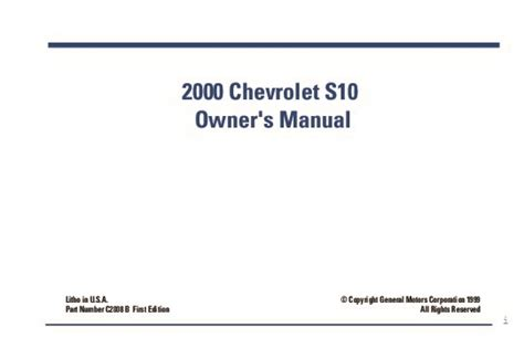 2000 chevy s10 owners manual 2000 chevrolet s10 owners manual