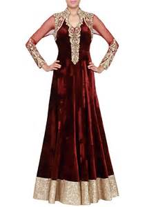 Maroon long dress in velvet net amp zardosi punjabi suits