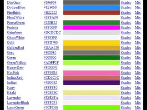 color html code list of html color codes