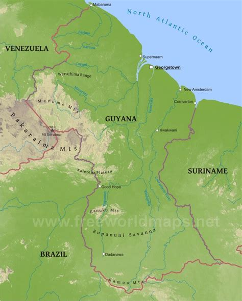 5 themes of geography guyana guyana physical map