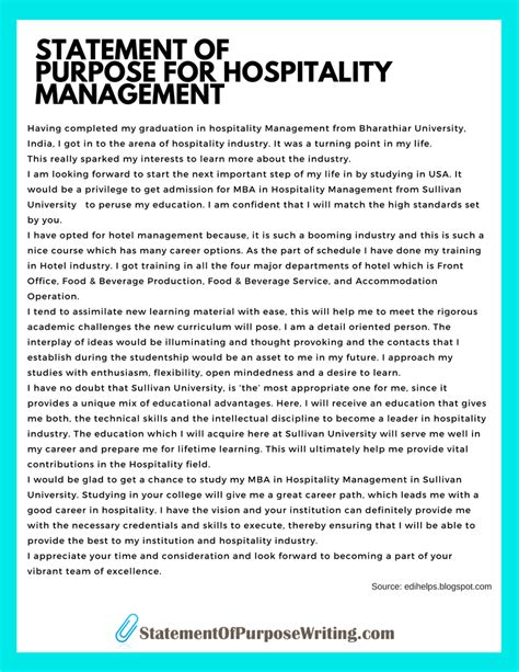Hospitality Job Resume by Management Personal Statement Okl Mindsprout Co