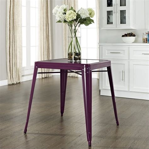 purple kitchen table metal cafe dining table in purple cf220130 pr
