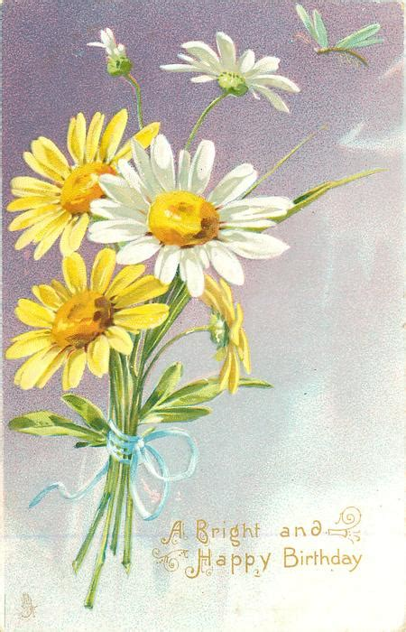 bright  happy birthday yellow white daisies purple background tuckdb postcards