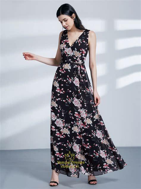 Sleeveless V Neck Maxi Dress a line v neck sleeveless v back chiffon maxi dress