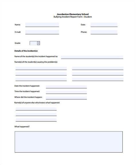 Sle Of Incident Report Letter In School Incident Report Form Exle
