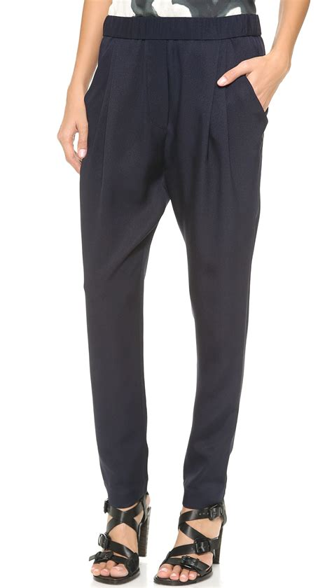 draped pants 3 1 phillip lim draped pocket trousers in blue lyst