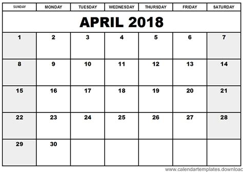 Printable Calendar April 2018 Template Download Free Calendar Templates Download 2018 2018 Free Calendar Template