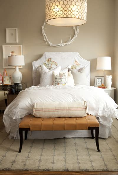 White Bench For Bedroom Mismatched Nightstands Design Ideas