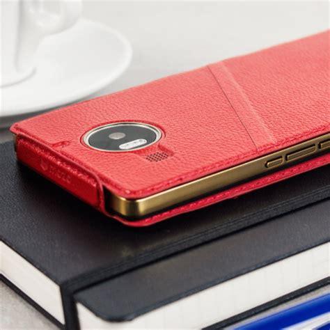 mozo thin flip case for microsoft lumia 950 mozo microsoft lumia 950 xl genuine leather flip cover red