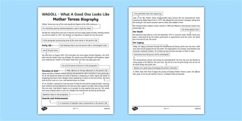 biography extracts ks2 wagoll mother teresa biography fact file