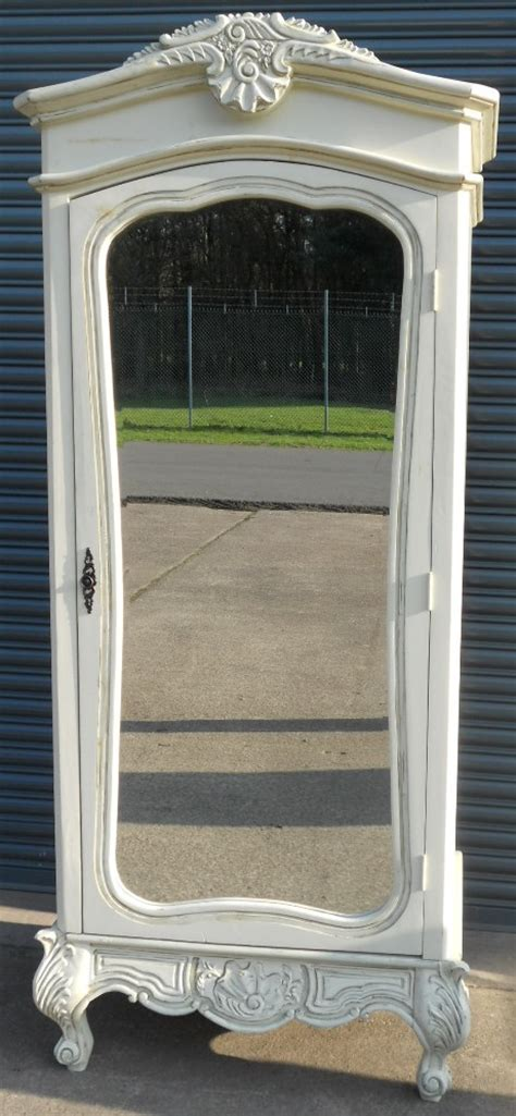 armoire with mirror doors white painted mirror door louis style armoire wardrobe sold