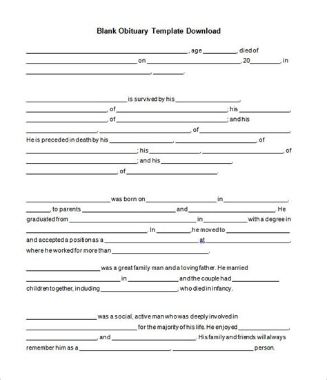 obituary outline template obituary template 21 free blank obituary templates word