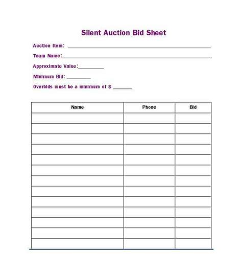 free silent auction bid sheet template free silent auction bid sheet templates word excel