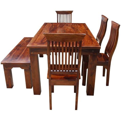 Rustic Solid Wood Casual Dining Table Chair Set W Bench Casual Dining Table And Chairs
