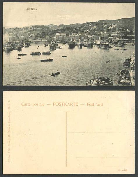 old boat genoa italy old postcard genua genoa genova harbour steam ships
