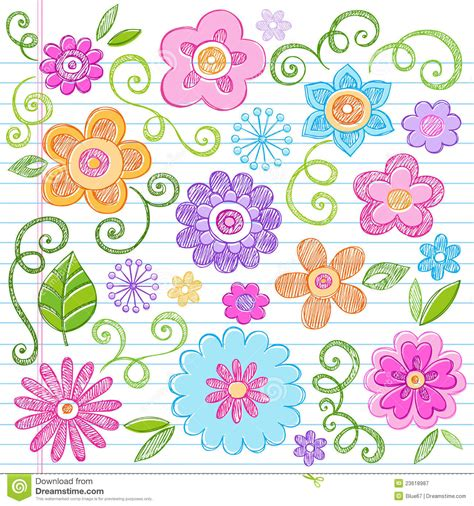 doodle flowers vector sketchy flowers notebook doodles vector set royalty free