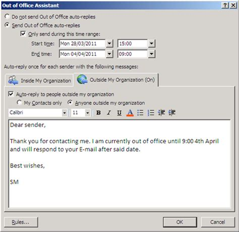 ooo message template out of office reply sle myideasbedroom