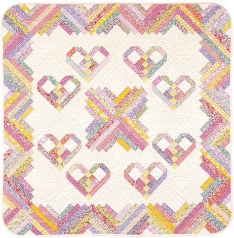 pattern for log cabin heart quilt to brighten your day new freebies stitch this the
