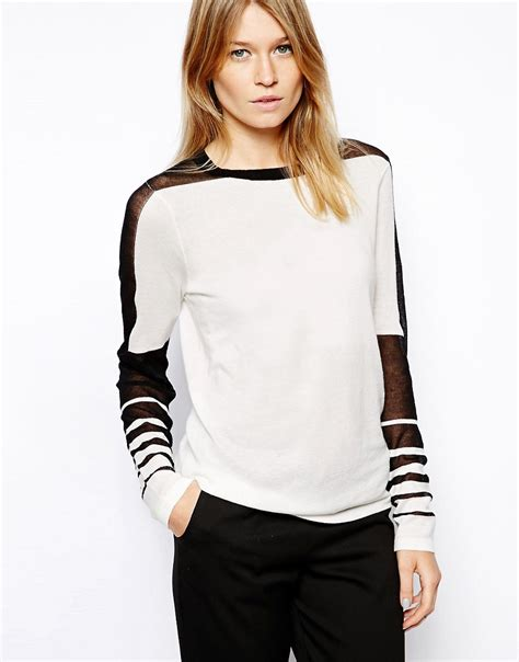 asos pattern jumper with sheer sleeves asos asos jumper with sheer stripe sleeves at asos