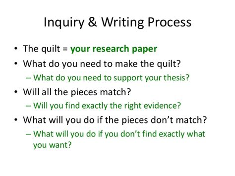 Inquiry Based Research Paper by The Inquiry Writing Process An Analogy