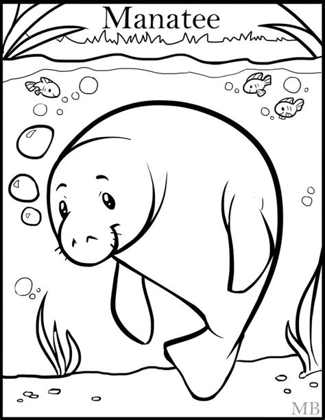coloringpage manatee by magicbunnyart on deviantart