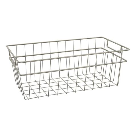 Closet Organizers Wire Baskets by Closetmaid Large Wire Basket In Nickel 31228 The Home Depot