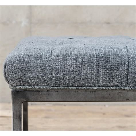 charcoal gray ottoman douglas industrial loft tufted charcoal grey linen iron