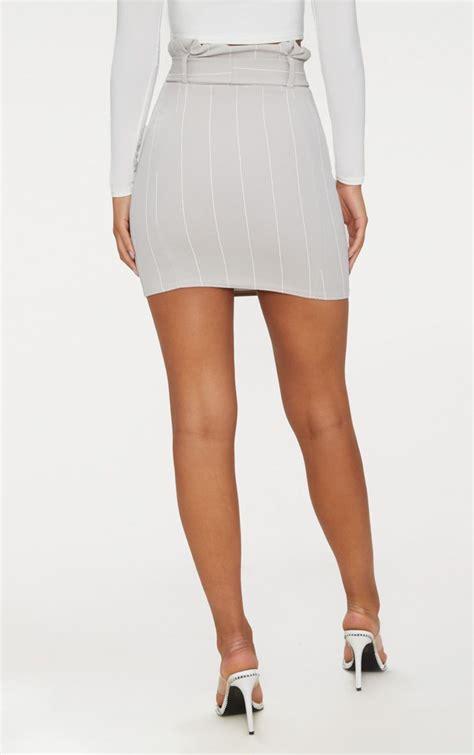 Waist Tie Mini Skirt grey pinstripe tie waist mini skirt skirts