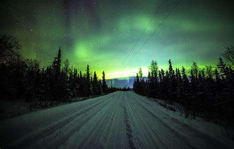 light pine city wallpaper road trees power lines pine northern lights
