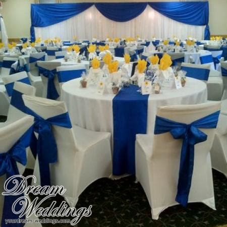 Barn Centerpieces Yellow And Royal Blue Wedding Decorations